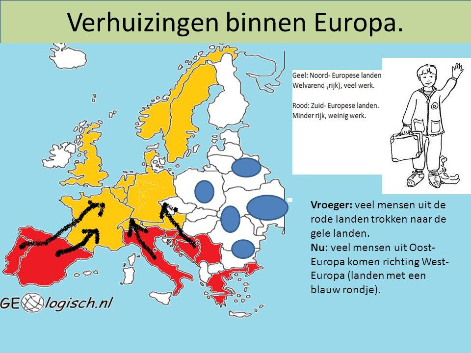 Verhuizingen binnen Europa. Vroeger: veel mensen uit de rode landen trokken naar de gele landen. Nu: veel mensen uit Oost- Europa komen richting West-