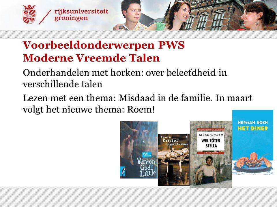Voorbeeldonderwerpen PWS Moderne Vreemde Talen Onderhandelen met horken: over beleefdheid in verschillende talen Lezen met een thema: Misdaad in de fa