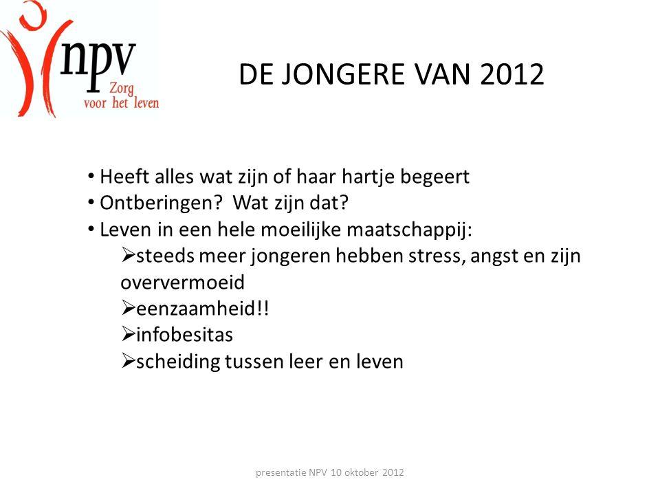 presentatie NPV 10 oktober 2012 DE JONGERE VAN 2012 Samenvattend: • Kinderen worden steeds jonger ouder • Jongeren worden steeds later volwassen