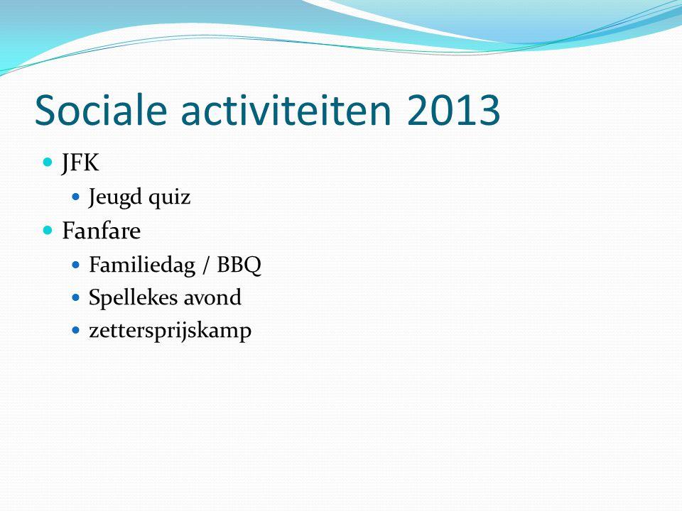 Sociale activiteiten 2013  JFK  Jeugd quiz  Fanfare  Familiedag / BBQ  Spellekes avond  zettersprijskamp