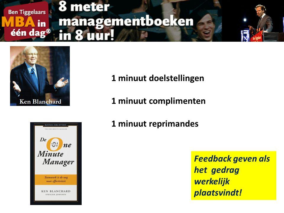 1 minuut doelstellingen 1 minuut complimenten 1 minuut reprimandes Feedback geven als het gedrag werkelijk plaatsvindt!