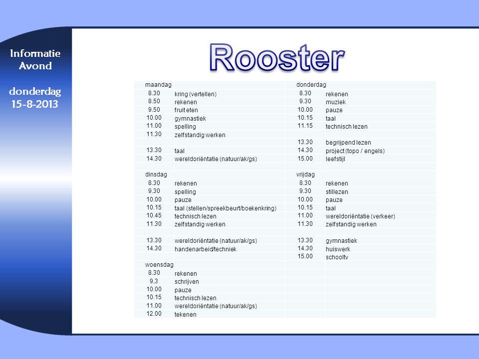 Informatie Avond donderdag 15-8-2013 maandag donderdag 8.30 kring (vertellen) 8.30 rekenen 8.50 rekenen 9.30 muziek 9.50 fruit eten 10.00 pauze 10.00