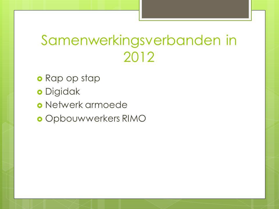 Samenwerkingsverbanden in 2012  Rap op stap  Digidak  Netwerk armoede  Opbouwwerkers RIMO