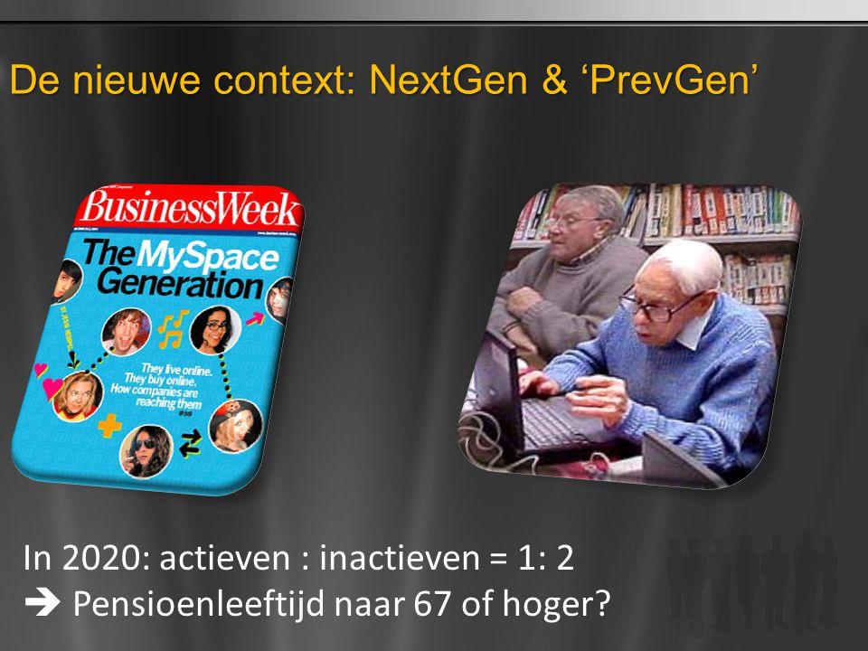 De nieuwe context: NextGen & 'PrevGen' In 2020: actieven : inactieven = 1: 2  Pensioenleeftijd naar 67 of hoger?