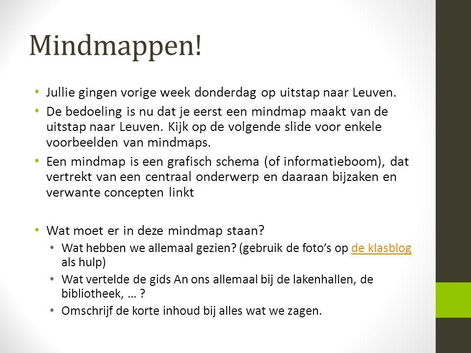 Mindmappen! • Jullie gingen vorige week donderdag op uitstap naar Leuven. • De bedoeling is nu dat je eerst een mindmap maakt van de uitstap naar Leuv
