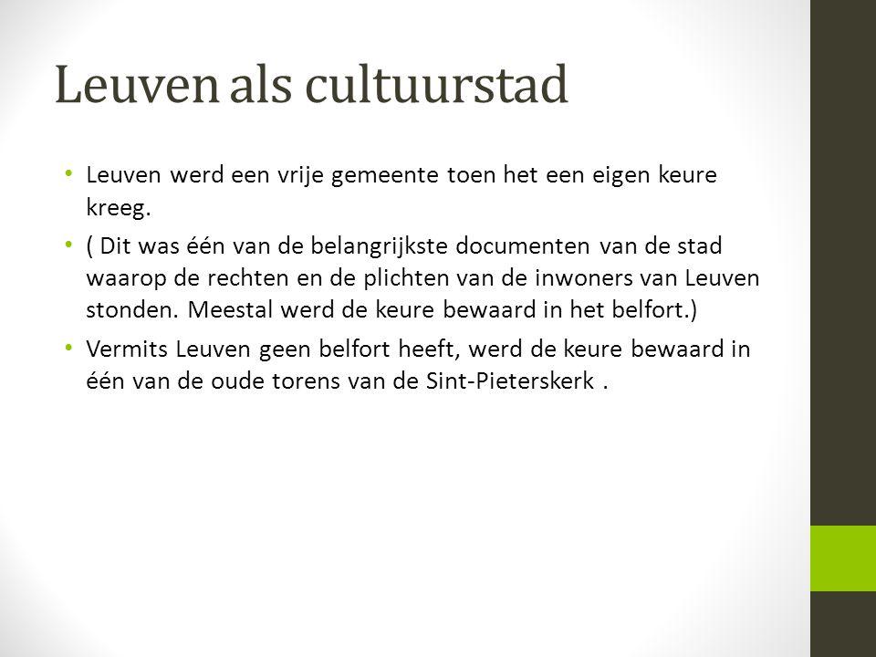 Leuven als cultuurstad • De stad werd beveiligd door een ringmuur • De eerste omwalling, die oorspronkelijk gebouwd werd door de Noormannen, was in aarde, met bovenaan een staketsel in hout.