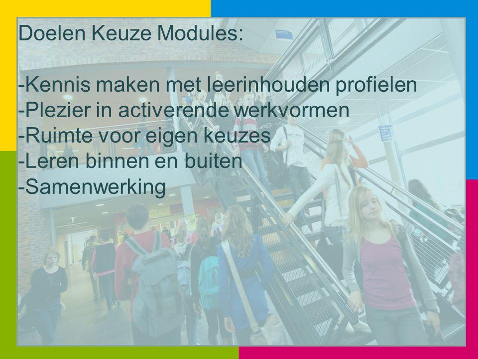 Doelen Keuze Modules: -Kennis maken met leerinhouden profielen -Plezier in activerende werkvormen -Ruimte voor eigen keuzes -Leren binnen en buiten -S