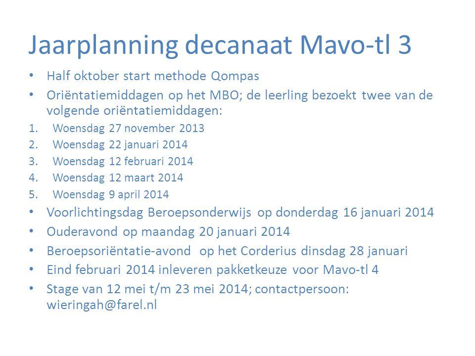Jaarplanning decanaat Mavo-tl 3 • Half oktober start methode Qompas • Oriëntatiemiddagen op het MBO; de leerling bezoekt twee van de volgende oriëntat