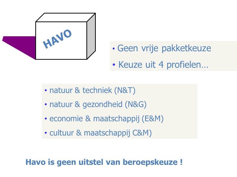 • Geen vrije pakketkeuze • Keuze uit 4 profielen… • natuur & techniek (N&T) • natuur & gezondheid (N&G) • economie & maatschappij (E&M) • cultuur & ma