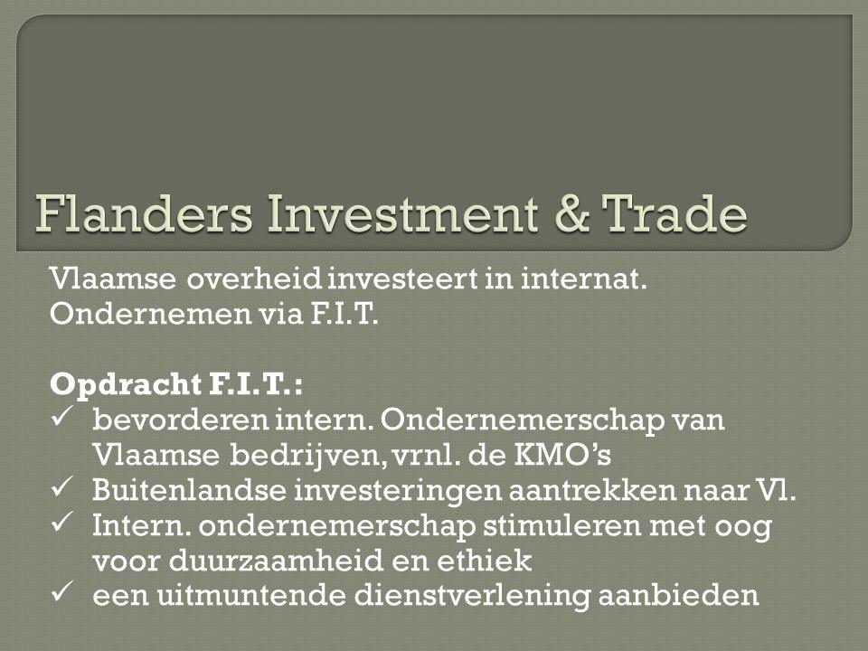 Vlaamse overheid investeert in internat. Ondernemen via F.I.T. Opdracht F.I.T.:  bevorderen intern. Ondernemerschap van Vlaamse bedrijven, vrnl. de K