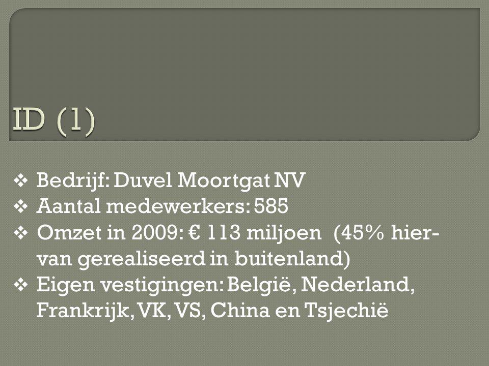  Bedrijf: Duvel Moortgat NV  Aantal medewerkers: 585  Omzet in 2009: € 113 miljoen (45% hier- van gerealiseerd in buitenland)  Eigen vestigingen: