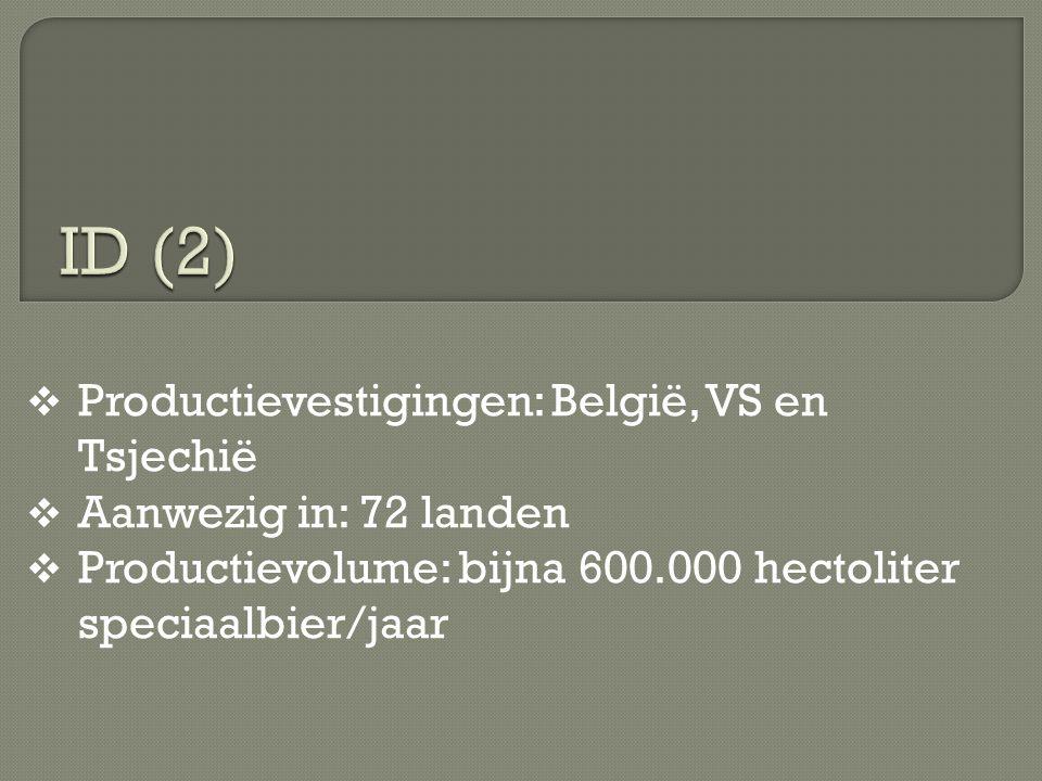  Productievestigingen: België, VS en Tsjechië  Aanwezig in: 72 landen  Productievolume: bijna 600.000 hectoliter speciaalbier/jaar