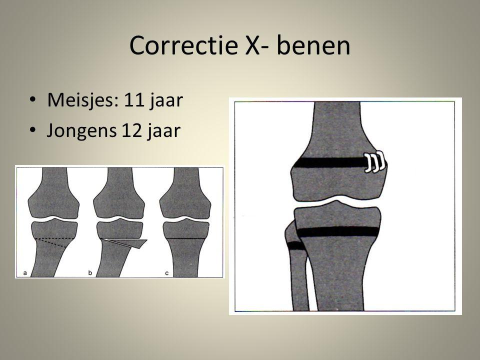 Correctie X- benen • Meisjes: 11 jaar • Jongens 12 jaar