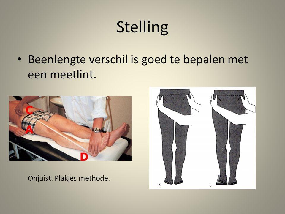 Stelling • Beenlengte verschil is goed te bepalen met een meetlint. Onjuist. Plakjes methode.