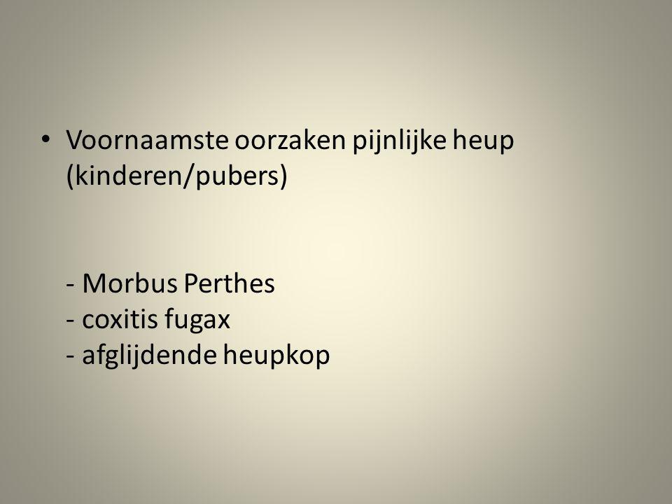 • Voornaamste oorzaken pijnlijke heup (kinderen/pubers) - Morbus Perthes - coxitis fugax - afglijdende heupkop