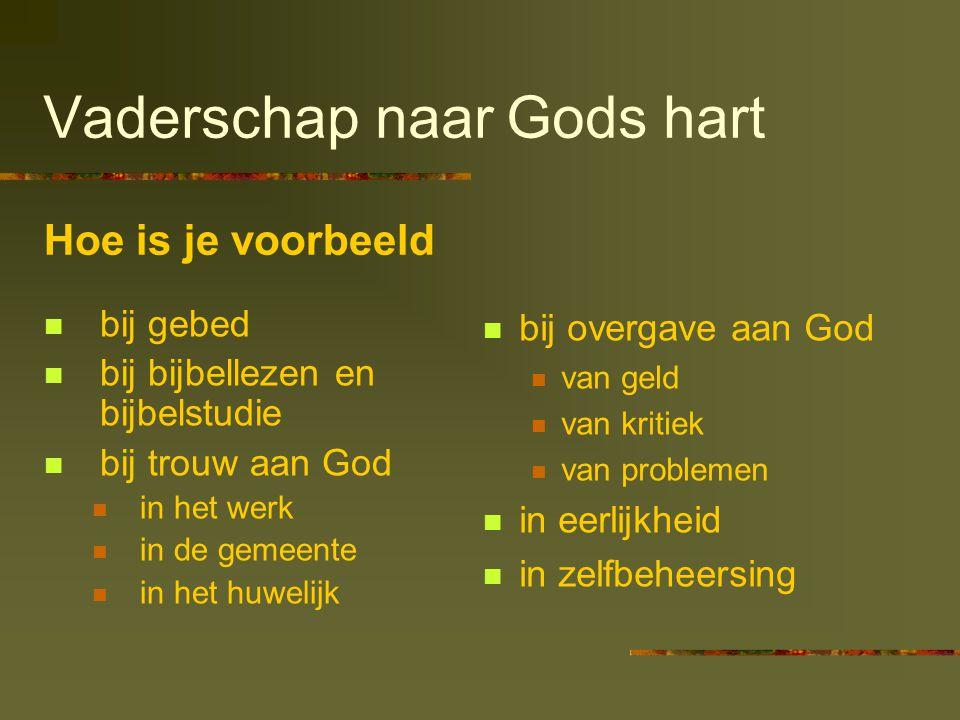 Vaderschap naar Gods hart  bij gebed  bij bijbellezen en bijbelstudie  bij trouw aan God  in het werk  in de gemeente  in het huwelijk  bij ove