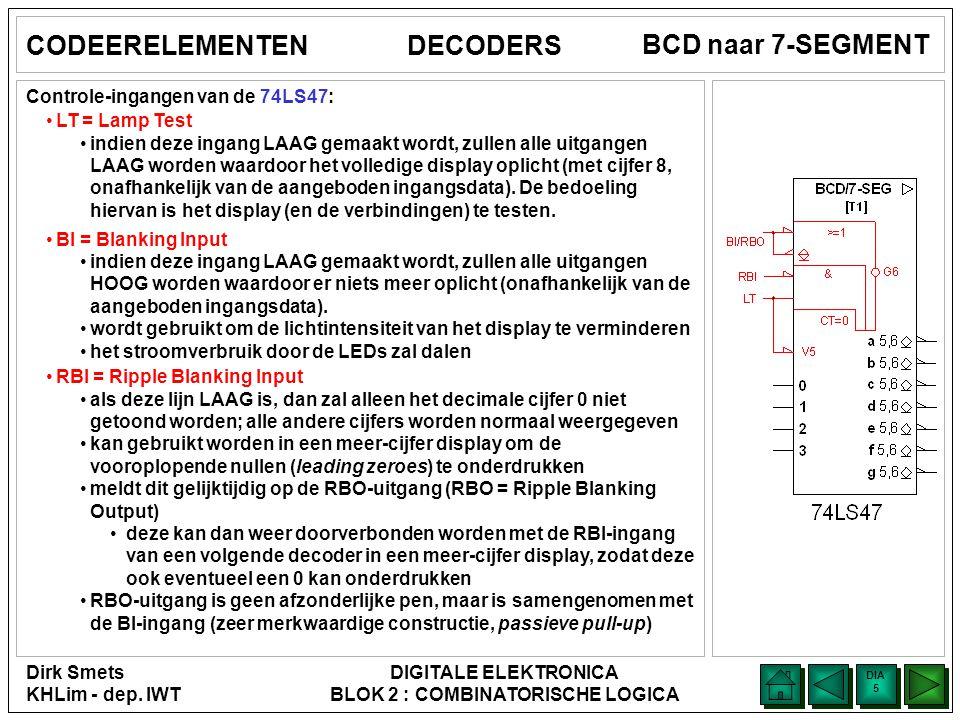 Dirk Smets KHLim - dep. IWT DIGITALE ELEKTRONICA BLOK 2 : COMBINATORISCHE LOGICA DIA 4 DIA 4 BCD naar 7-SEGMENT CODEERELEMENTENDECODERS In de TTL-reek