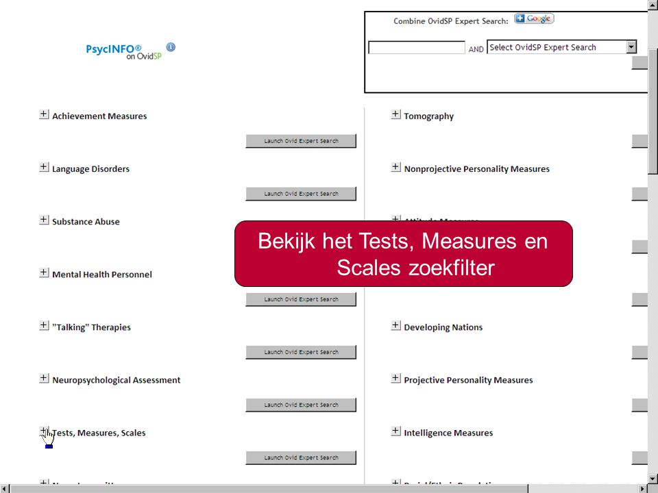 18 Bekijk het Tests, Measures en Scales zoekfilter