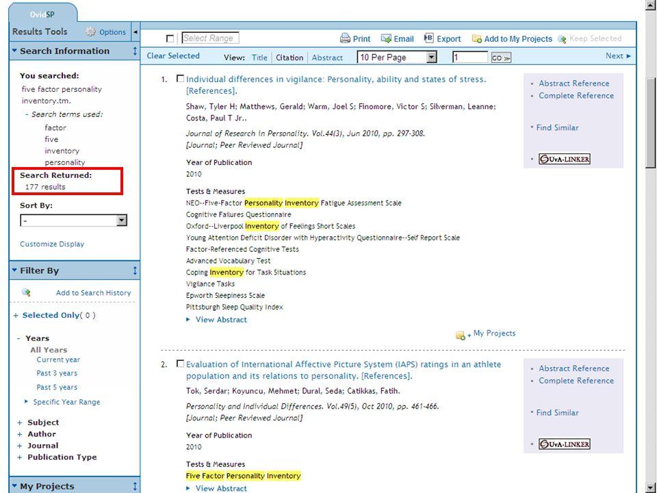 5 Houd ook rekening met spellingsvarianten Bedenk zelf woordvarianten woordvarianten Of gebruik de index  Maak hierbij gebruik van het indexveld 'Tests & Measures'  Zie de demo zoeken op auteur voor een demonstratie van het gebruik van de indexzoeken op auteur