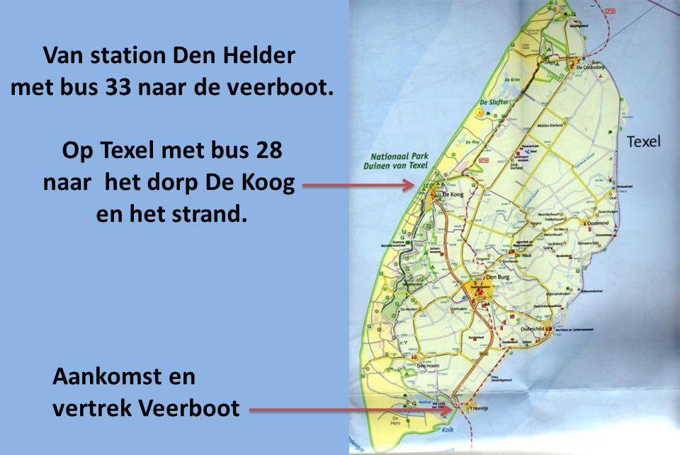 Van station Den Helder met bus 33 naar de veerboot.