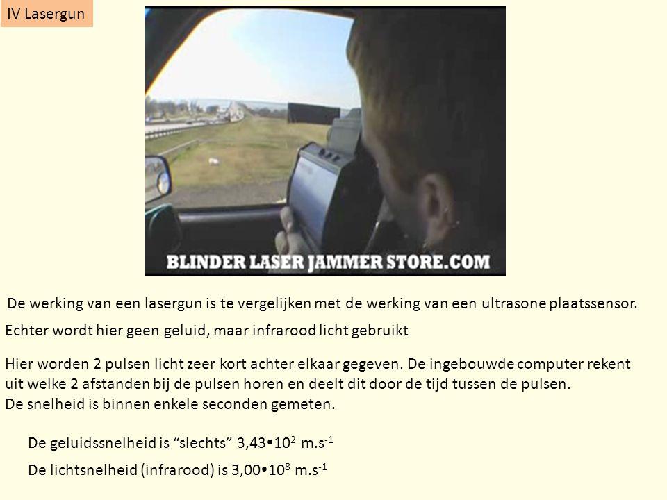 IV Lasergun De werking van een lasergun is te vergelijken met de werking van een ultrasone plaatssensor. Echter wordt hier geen geluid, maar infrarood