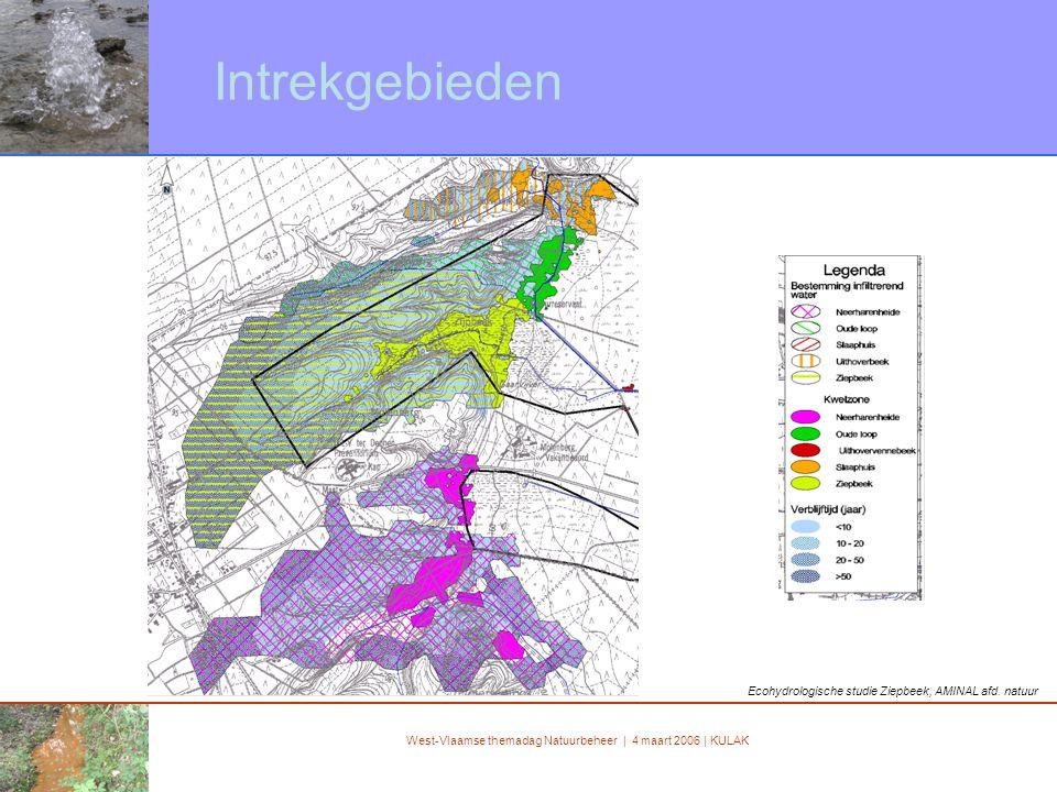 West-Vlaamse themadag Natuurbeheer | 4 maart 2006 | KULAK Intrekgebieden Ecohydrologische studie Ziepbeek, AMINAL afd.