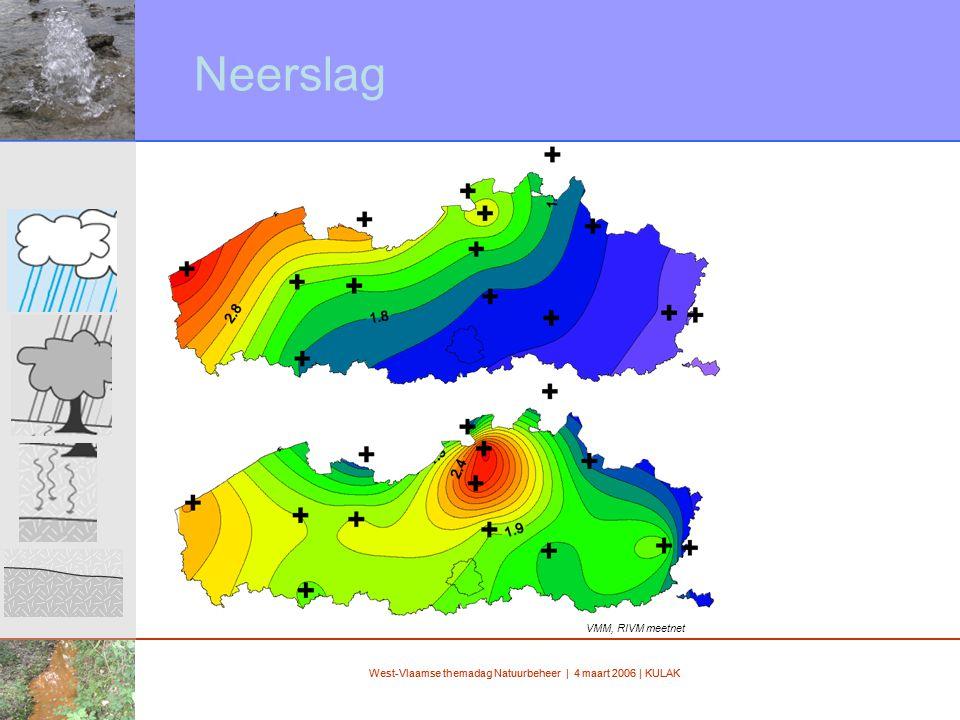 West-Vlaamse themadag Natuurbeheer | 4 maart 2006 | KULAK Neerslag VMM, RIVM meetnet