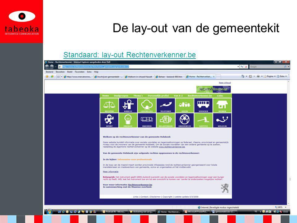 De lay-out van de gemeentekit Standaard: lay-out Rechtenverkenner.be