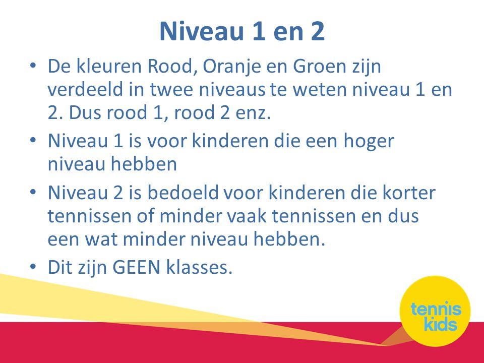 Niveau 1 en 2 • De kleuren Rood, Oranje en Groen zijn verdeeld in twee niveaus te weten niveau 1 en 2. Dus rood 1, rood 2 enz. • Niveau 1 is voor kind
