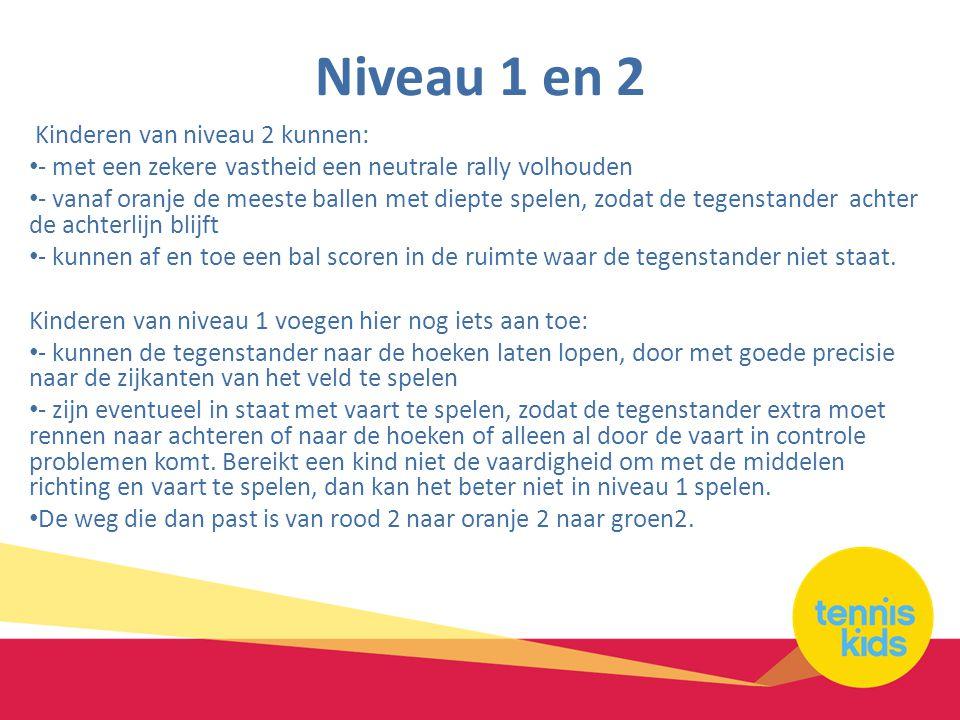 Niveau 1 en 2 Kinderen van niveau 2 kunnen: • - met een zekere vastheid een neutrale rally volhouden • - vanaf oranje de meeste ballen met diepte spel