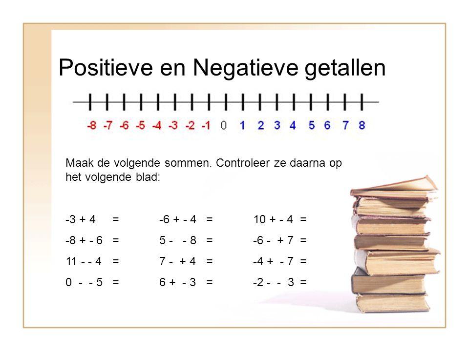 Positieve en Negatieve getallen Maak de volgende sommen. Controleer ze daarna op het volgende blad: -3 + 4 =-6 + - 4=10 + - 4= -8 + - 6=5 - - 8=-6 - +