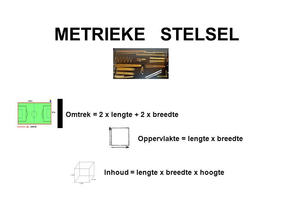 METRIEKE STELSEL Omtrek = 2 x lengte + 2 x breedte Oppervlakte = lengte x breedte Inhoud = lengte x breedte x hoogte