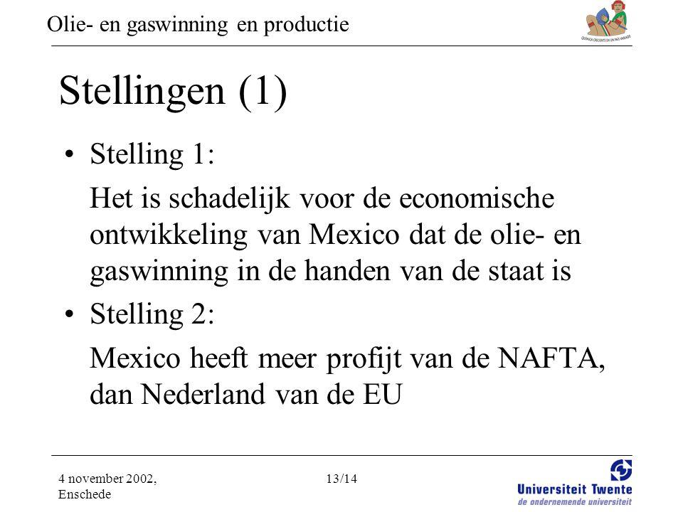 Olie- en gaswinning en productie 4 november 2002, Enschede 13/14 Stellingen (1) •Stelling 1: Het is schadelijk voor de economische ontwikkeling van Mexico dat de olie- en gaswinning in de handen van de staat is •Stelling 2: Mexico heeft meer profijt van de NAFTA, dan Nederland van de EU