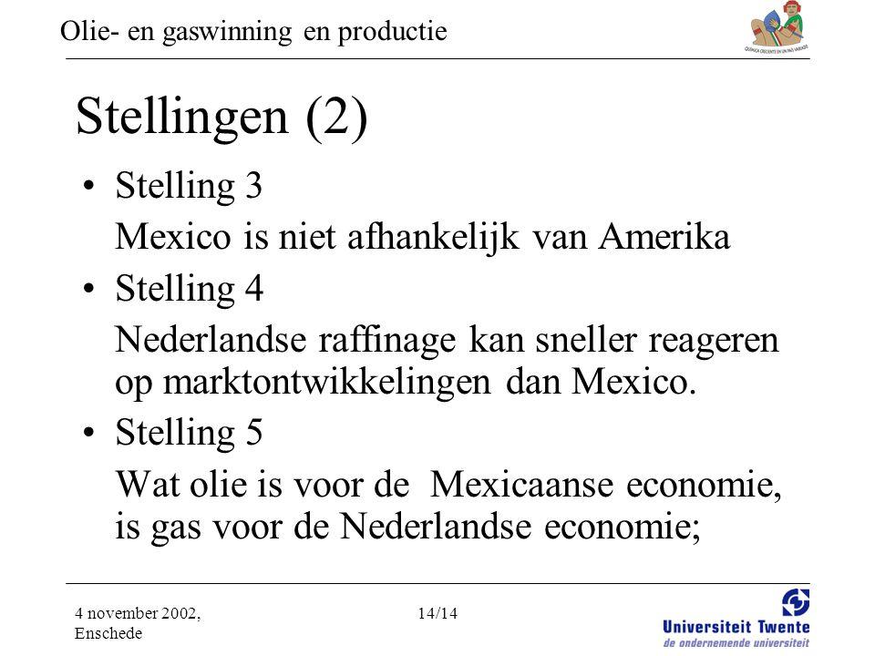 Olie- en gaswinning en productie 4 november 2002, Enschede 14/14 Stellingen (2) •Stelling 3 Mexico is niet afhankelijk van Amerika •Stelling 4 Nederlandse raffinage kan sneller reageren op marktontwikkelingen dan Mexico.