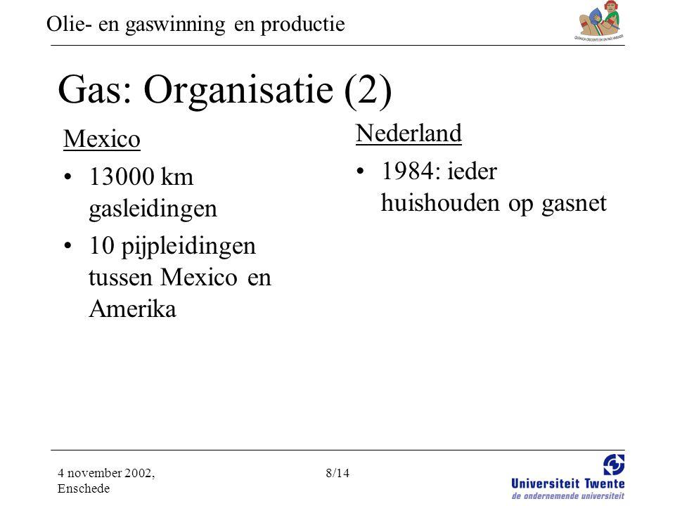 Olie- en gaswinning en productie 4 november 2002, Enschede 8/14 Gas: Organisatie (2) Mexico •13000 km gasleidingen •10 pijpleidingen tussen Mexico en Amerika Nederland •1984: ieder huishouden op gasnet