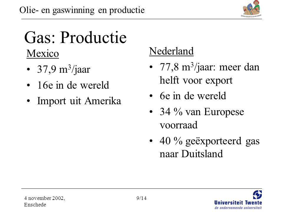 Olie- en gaswinning en productie 4 november 2002, Enschede 9/14 Gas: Productie Mexico •37,9 m 3 /jaar •16e in de wereld •Import uit Amerika Nederland •77,8 m 3 /jaar: meer dan helft voor export •6e in de wereld •34 % van Europese voorraad •40 % geëxporteerd gas naar Duitsland