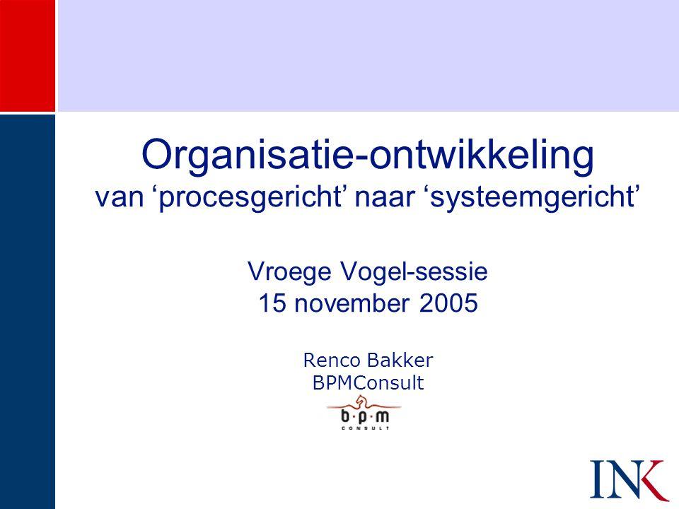 Organisatie-ontwikkeling van 'procesgericht' naar 'systeemgericht' Vroege Vogel-sessie 15 november 2005 Renco Bakker BPMConsult