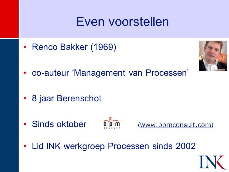 Even voorstellen •Renco Bakker (1969) •co-auteur 'Management van Processen' •8 jaar Berenschot •Sinds oktober ( www.bpmconsult.com ) •Lid INK werkgroep Processen sinds 2002