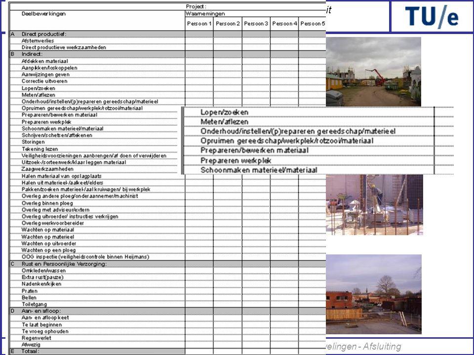 Onderzoek naar de arbeidsproductiviteit van een bouwplaatsmedewerker Elke bouwplaats 2 dagen van 7:00u-15:45u Tijdsmetingen: MultiMomentOpnamen •Berli