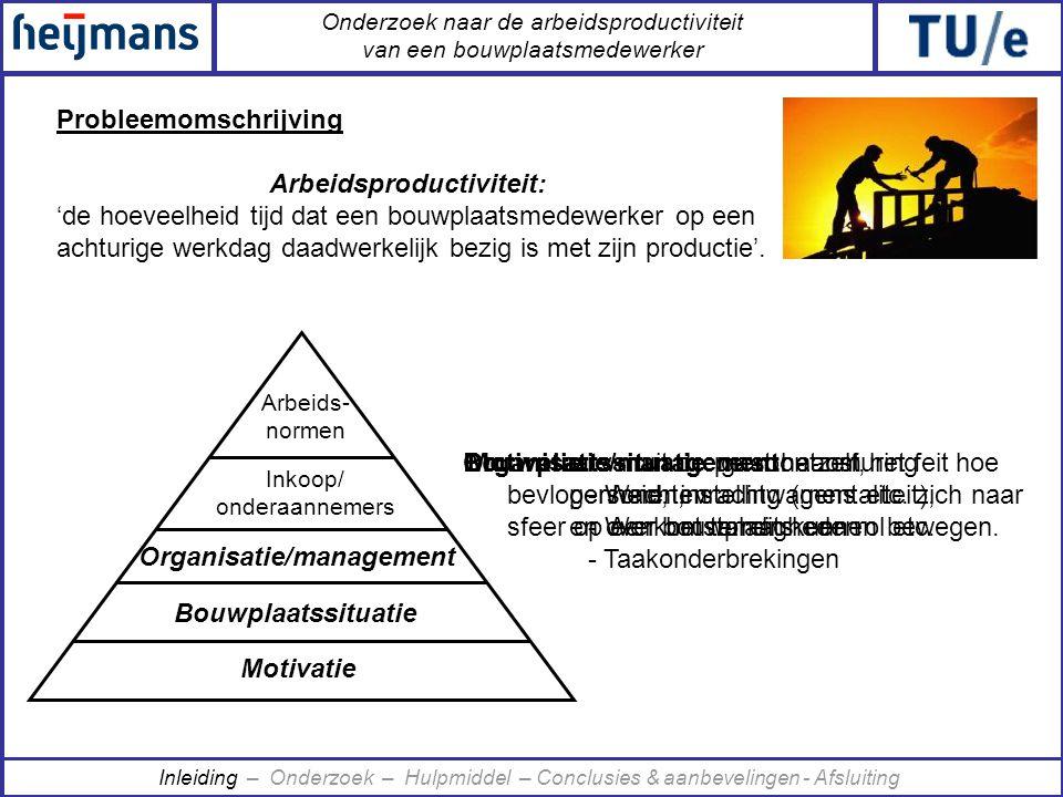 Onderzoek naar de arbeidsproductiviteit van een bouwplaatsmedewerker Elke bouwplaats 2 dagen van 7:00u-15:45u Tijdsmetingen: MultiMomentOpnamen •Berlicum •Boxtel •St.