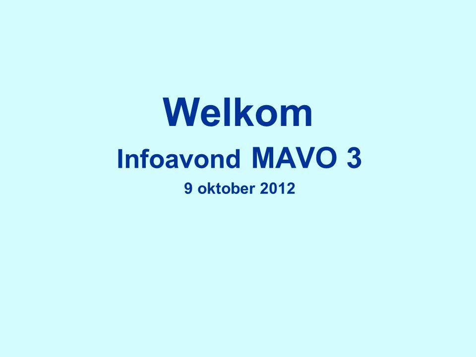 Welkom Infoavond MAVO 3 9 oktober 2012