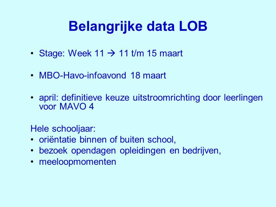 Belangrijke data LOB •Stage: Week 11  11 t/m 15 maart •MBO-Havo-infoavond 18 maart •april: definitieve keuze uitstroomrichting door leerlingen voor M
