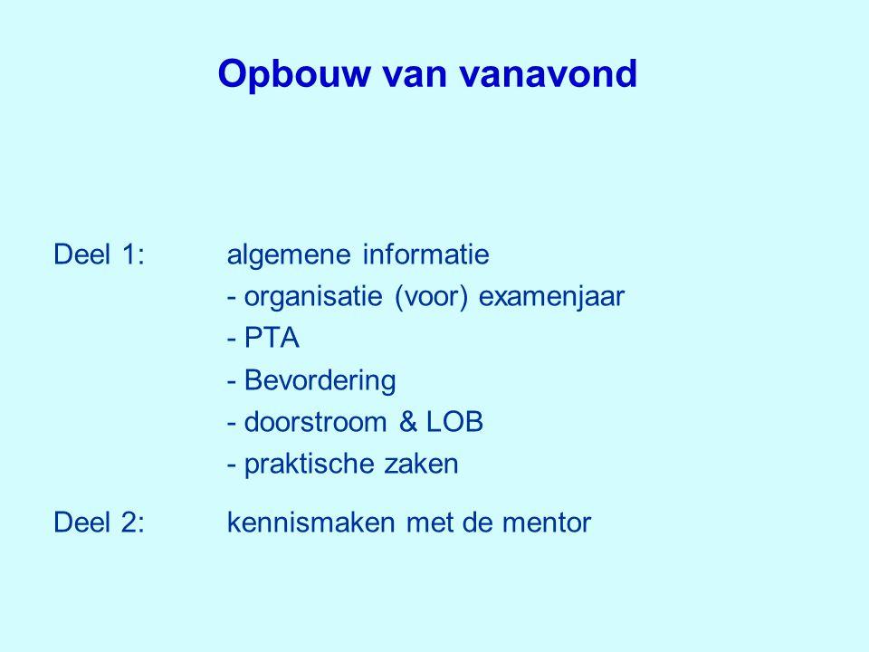 Opbouw van vanavond Deel 1:algemene informatie - organisatie (voor) examenjaar - PTA - Bevordering - doorstroom & LOB - praktische zaken Deel 2:kennis