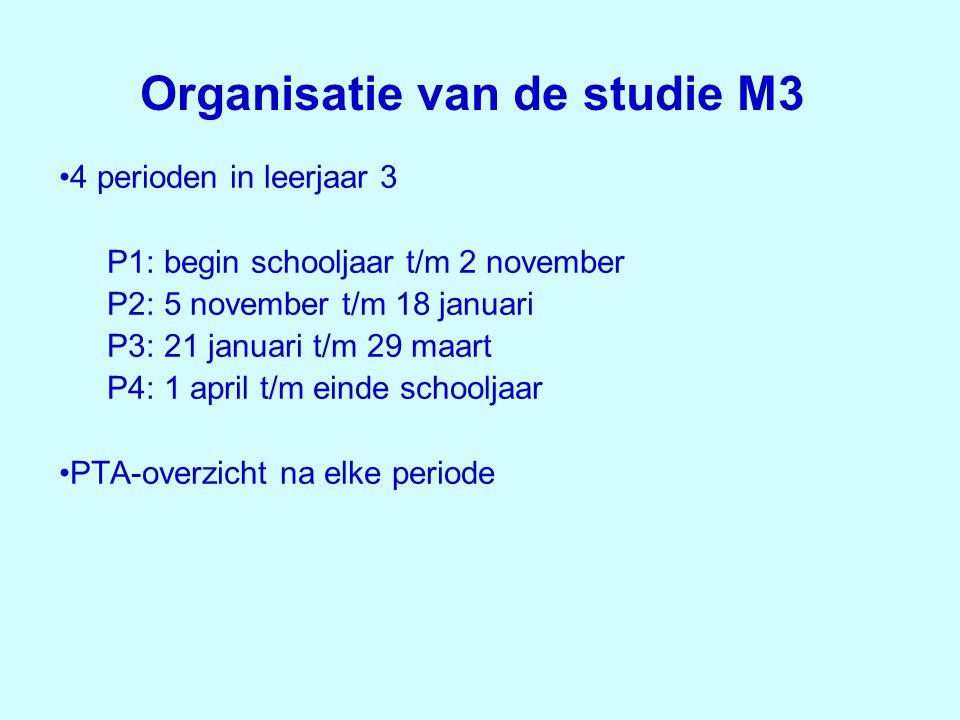Organisatie van de studie M3 •4 perioden in leerjaar 3 P1: begin schooljaar t/m 2 november P2: 5 november t/m 18 januari P3: 21 januari t/m 29 maart P