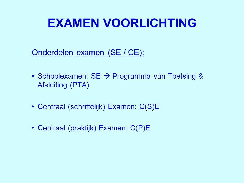 EXAMEN VOORLICHTING Onderdelen examen (SE / CE): •Schoolexamen: SE  Programma van Toetsing & Afsluiting (PTA) •Centraal (schriftelijk) Examen: C(S)E