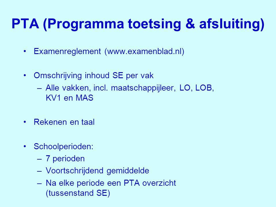 PTA (Programma toetsing & afsluiting) •Examenreglement (www.examenblad.nl) •Omschrijving inhoud SE per vak –Alle vakken, incl. maatschappijleer, LO, L
