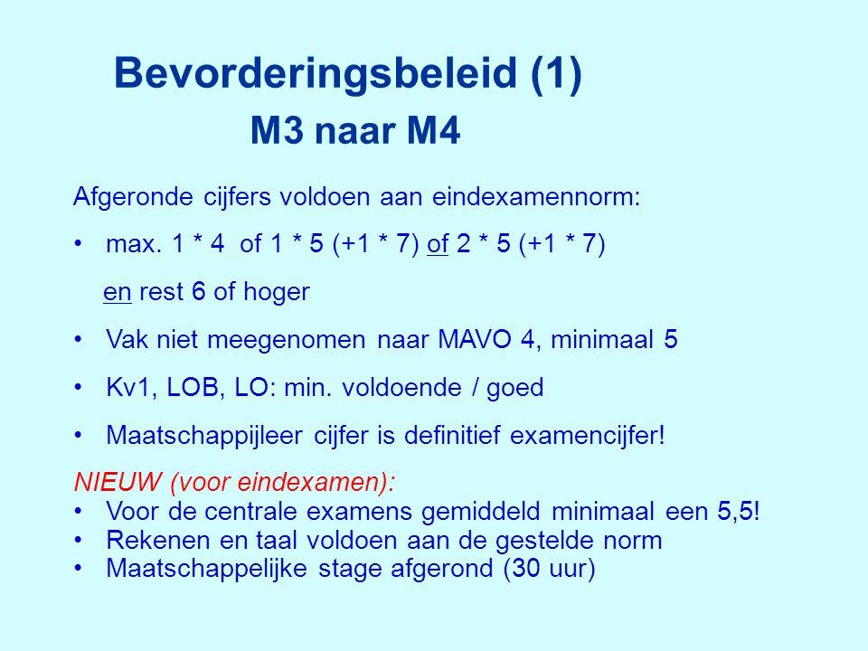 Bevorderingsbeleid (1) M3 naar M4 Afgeronde cijfers voldoen aan eindexamennorm: •max. 1 * 4 of 1 * 5 (+1 * 7) of 2 * 5 (+1 * 7) en rest 6 of hoger •Va