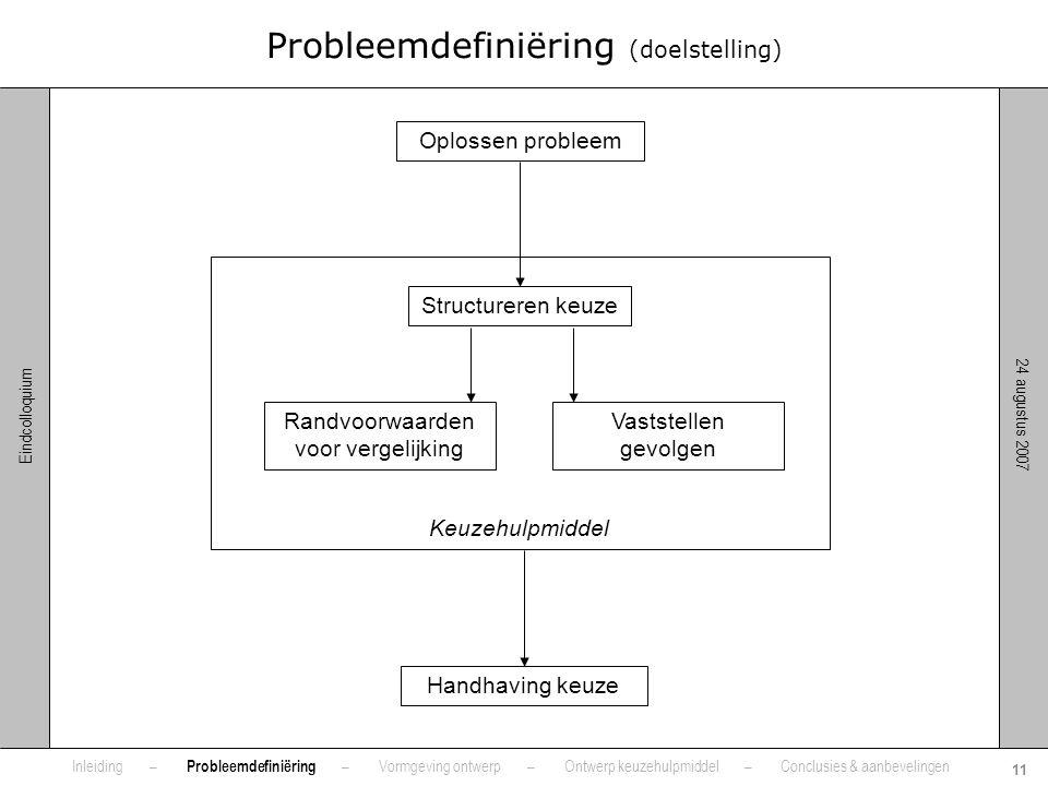 24 augustus 2007 11 Eindcolloquium Keuzehulpmiddel Probleemdefiniëring (doelstelling) Oplossen probleem Structureren keuze Randvoorwaarden voor vergel