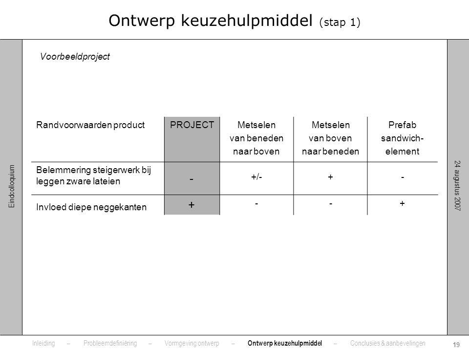 24 augustus 2007 19 Eindcolloquium Ontwerp keuzehulpmiddel (stap 1) Randvoorwaarden productPROJECTMetselen van beneden naar boven Metselen van boven n