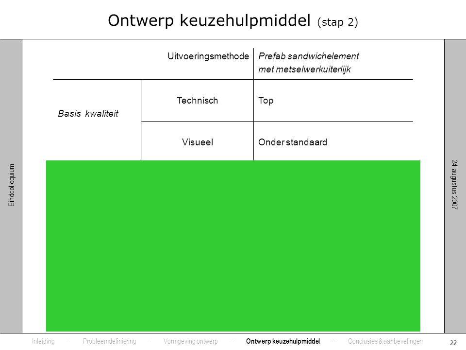 24 augustus 2007 22 Eindcolloquium Inleiding – Probleemdefiniëring – Vormgeving ontwerp – Ontwerp keuzehulpmiddel – Conclusies & aanbevelingen Ontwerp